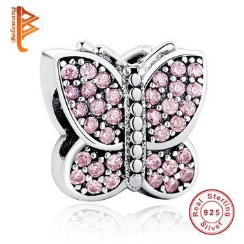 European 925 Sterling Silver Sparkling Crystal Butterfly Charms Fit Original Pandora B