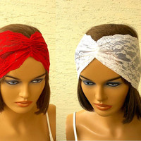 Set of 2, lace headbands, strech headband, turban headband, summer headband, flexible headband, turban style headband, pick your two colors