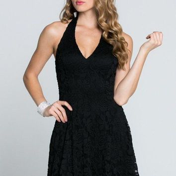 Tricks Of The Trade Enchantment Black Lace Halter Dress