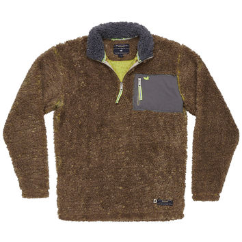 Piedmont Range Sherpa Pullover in Burnt Taupe and Lime by Southern Marsh