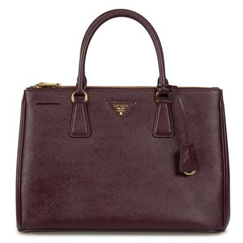 Prada Galleria Saffiano Lux Leather Double Handle Bag Garnate