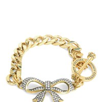 Gold Pave Bow Chain Link Bracelet by Juicy Couture, O/S