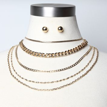 Layered Gold-Tone Chain Necklace Set
