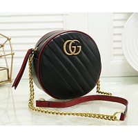 Gucci Newest Fashion Women Leather Shopping Bag Circular Crossbody Satchel Shoulder Bag Black