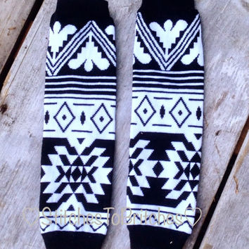 Black White Aztec Leg Warmers - Baby/Child