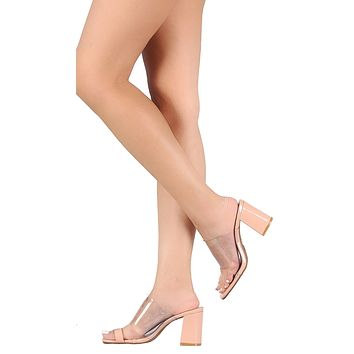 Clear plastic band to Ring Chunky Heeled Mules
