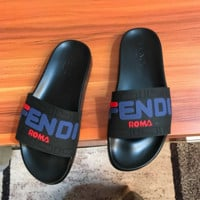 Unisex FF Letter FENDI Leather Slides Slipper Sandals Flats Shoes