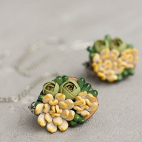 Succulent Necklace Pendant in nut SN003