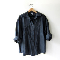 90s black silk shirt. oversized silk blouse. silk pocket shirt. long sleeve silk top.