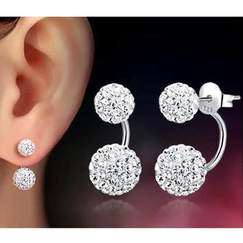 2017 Fashion Jewelry Stainless Steel Stud Earrings for Women Double Ball Pearl Ear Stud Earrings Crystal Rhinestone Pendientes