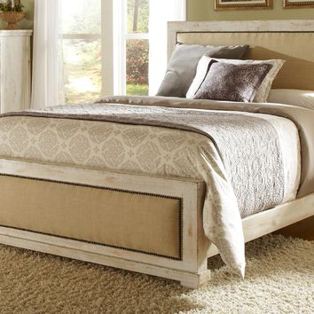 Willow Casual King Upholstered Complete Bed Distressed White