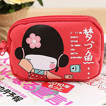 Cute Japanese Girl Print Canvas Phone Bag Double Zipper Purse Coin Bag HU