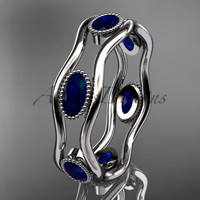 14k white gold beautiful wedding ring,engagement ring with Blue Sapphires  ADLR22