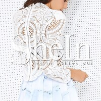 White Long Sleeve Hollow Lace Blouse -SheIn(Sheinside)