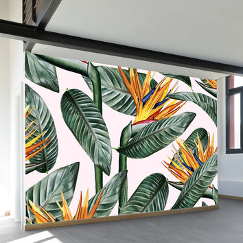 Bird of Paradise Leaves Wall Mural