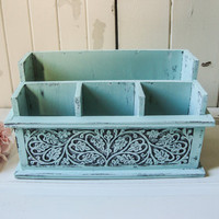 Aqua Mint Wooden Mail Holder, Mint Mail Organizer, Desk Organizer, Ornate Carved Wood Mail Storage Box, Home or Office, Cottage Chic
