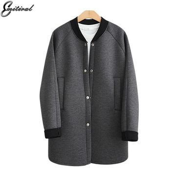Trendy Emitiral 2017 New Autumn Winter Space Cotton Jacket Black Grey Basic Simple Casual Female Coat Plus Size 4XL Space Scuba Outwear AT_94_13