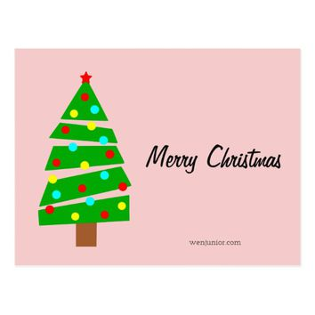 Merry Christmas Colorful Tree Business Custom Text Postcard