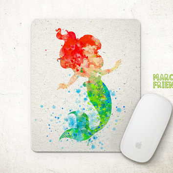 The Little Mermaid Mouse Pad, Ariel Watercolor Art, Mousepad, Office Decor, Gift, Art Print, Desk Deco, Computer Mouse, Disney Accessories