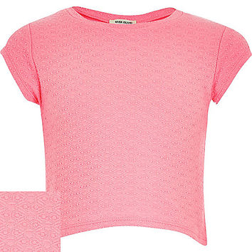 River Island Girls pink jacquard t-shirt