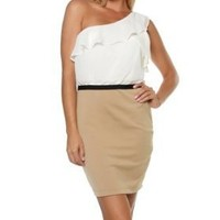 Sexy Clubwear Dress Beige Cream Two Tone One Shoulder Chiffon Ruffle Mini