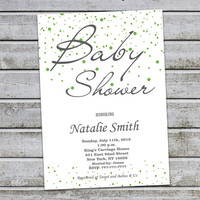 Neutral Baby Shower Invitations Girl Boy Baby Shower Invites Green Baby Shower Invitation - FREE Thank You card (V7)