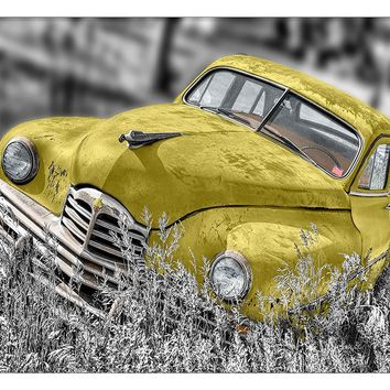 Old Timer Yellow Car Vintage Picture on Large Canvas Hung on Copper Rod, Ready to Hang, Wall Art Décor