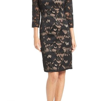 Adrianna Papell Quarter Sleeve Floral Lace Illusion Dress