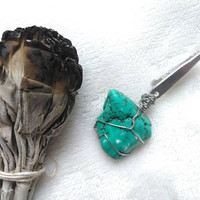 Turquoise Howlite Crystal - Tobacciana - Cigarette Holder - Cerimonial - Tribal - Wire Wrapped Crystal - Gift for Him - Crystal Accessories