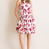Berry Floral Pocketed Fit & Flare Dress