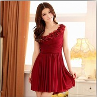 Available for Special Order Elegant one shoulder flower Dress Wine
