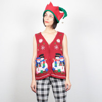 Vintage Ugly Christmas Sweater Vest Tacky Christmas Sweater Red Beaded Snowman Knit Cardigan Jumper Ugly Xmas Sweater Holiday Party M Medium