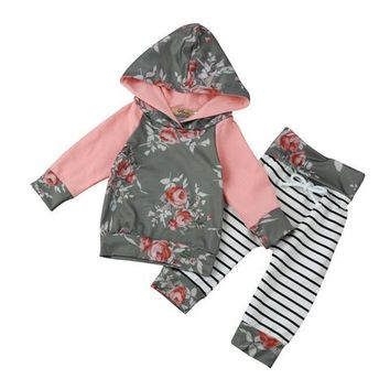 New Toddler/Infant/Baby Girl Long Sleeve Floral Stripe Hoodie Top+Pants