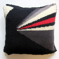"12"" x 12"" Cotton and Wool Diagonal Stripe Knit Pillow"