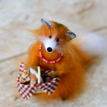 Cute red fox amigurumi kawaii fox, amigurumi fox stuffed OOAK