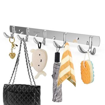 Wall Mounted Stainless Steel Coat Rack with 5 Hangers