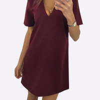 Burgundy Cut Out V-Neck Back Zip Short Sleeve A-Line Dress