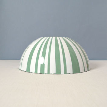 """Large 11"""" Cathrineholm Striped Bowl Seafoam and White"""