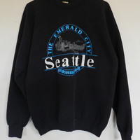 vintage 80s Seattle Sweatshirt tourist 50/50 kingdome space needle Mt. Rainier crewneck Mens XL
