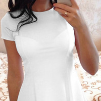 White Round Neck T-Shirt Dress B005068