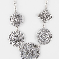 Full Tilt 5 Piece Antique Flower Necklace Antique Silver One Size For Women 27448958201