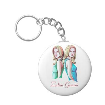 Zodiac Gemini Twins Sign Button Keychain