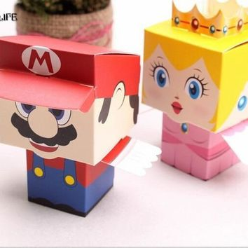 Super Mario party nes switch Surelife 40pcs/lot cartoon Super Marie Bros princess Bride and Groom wedding favors  candy box wedding gifts AT_80_8