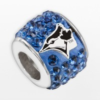 LogoArt Toronto Blue Jays Sterling Silver Crystal Logo Bead - Made with Swarovski Elements