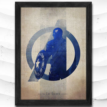 Captain America Watercolor Print Avengers Poster Art Print Baby Room Illustrations Room Super Hero Nursery Kids Room Gift Linen Poster CAP76