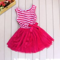 Casual Baby Girl Dress Stripe Bow Lace Tulle Party Dresses Tutu Sundress Clothes
