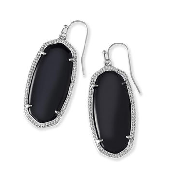 Kendra Scott Elle Black Mother of Pearl Silver Earrings
