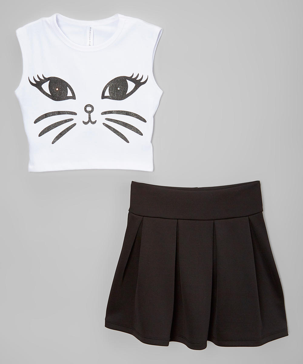 Black Amp White Cat Crop Top Amp Pleated From Zulily Babies