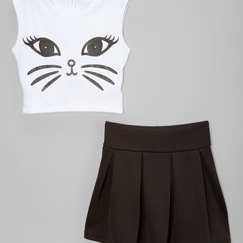 Black & White Cat Crop Top & Pleated Skirt - Toddler & Girls