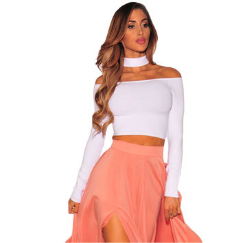 Halter Turtleneck Long Sleeve Bustier Crop Top Slash Neck t Shirt White Off The Shoulder Tops For Wo SM6